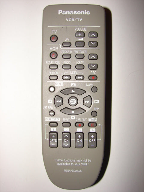 photo of front of N2QAHB000026 Panasonic VCR TV Remote Control 321AL R6P/R6PU