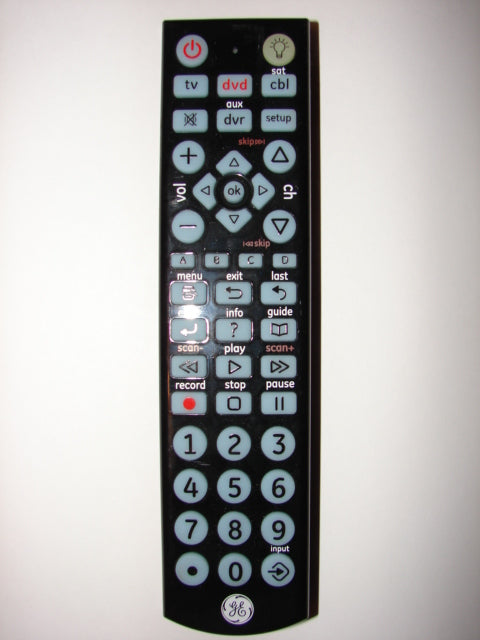 6177 24116-CL3 1351 4510-1 GE TV DVD Remote Control top view