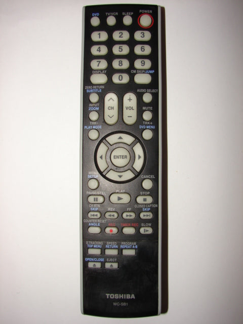 WC-SB1 Toshiba TV DVD VCR Remote Control 076D0KH010 0511899 top photo