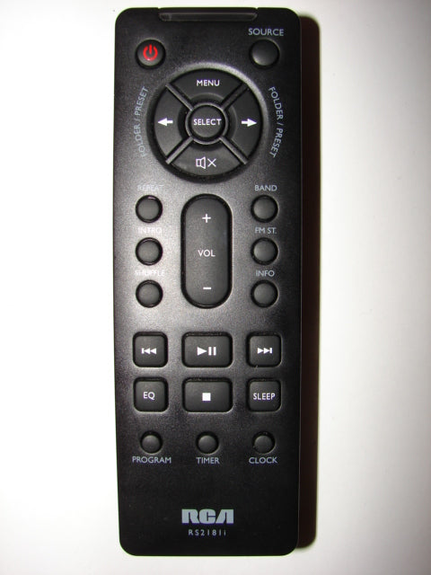 RS2181i Remote Control for RCA iPod Dock Audio System front