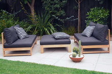 Outdoor patio furniture, teak outdoor furniture, modular sofa designs, the River Collection exclusively at Kinnell & Posch.