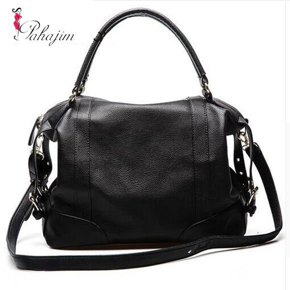 European and American wind soft pure color leather handbag