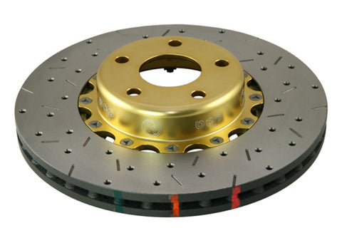 DBA 02-10 WRX / 13+ FR-S / 13+ BRZ Premium Front Drilled & Slotted 5000 Series Rotor w/ Gold Hat