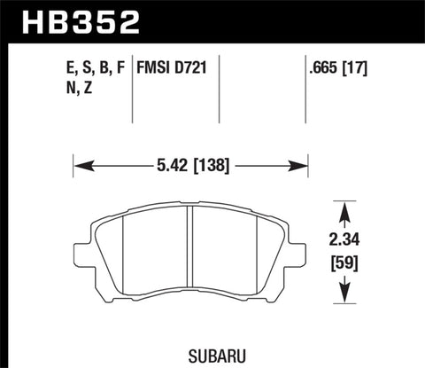 Hawk 1998-2/2002 Subaru Forester L (w/Rear Drum Brakes) High Perf. Street 5.0 Front Brake Pads