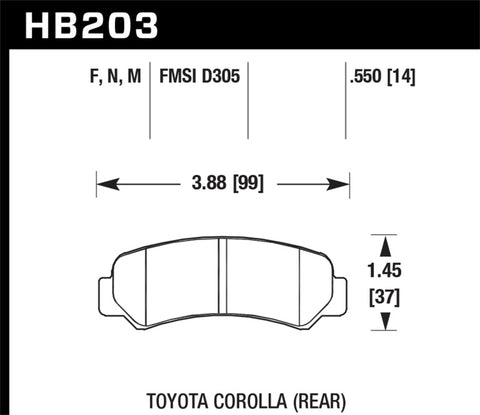 Hawk 87 Toyota Corolla FX16 / 85-87 Corolla GTS Rear Black Race Brake Pads