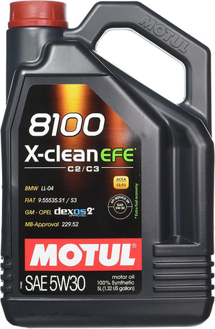 Motul 8100 X-Clean EFE 5W-30 Synthetic Oil 5-Liter Jug
