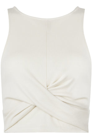 LACHERE Ivory Ribbed Tank Top