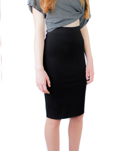 LACHERE Black Pencil Skirt | Knee-Length