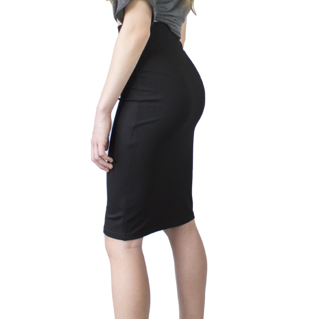 LACHERE Black Stretch Pencil Skirt Knee-Length - LACHERE