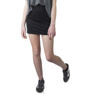 teenage girl in black pencil tube mini skirt LACHERE