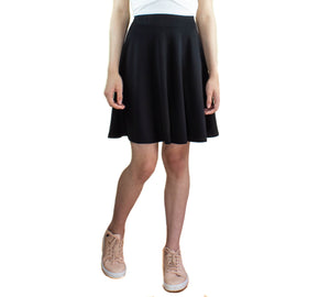 LACHERE Black Skater Skirt Knee Length Jersey - LACHERE