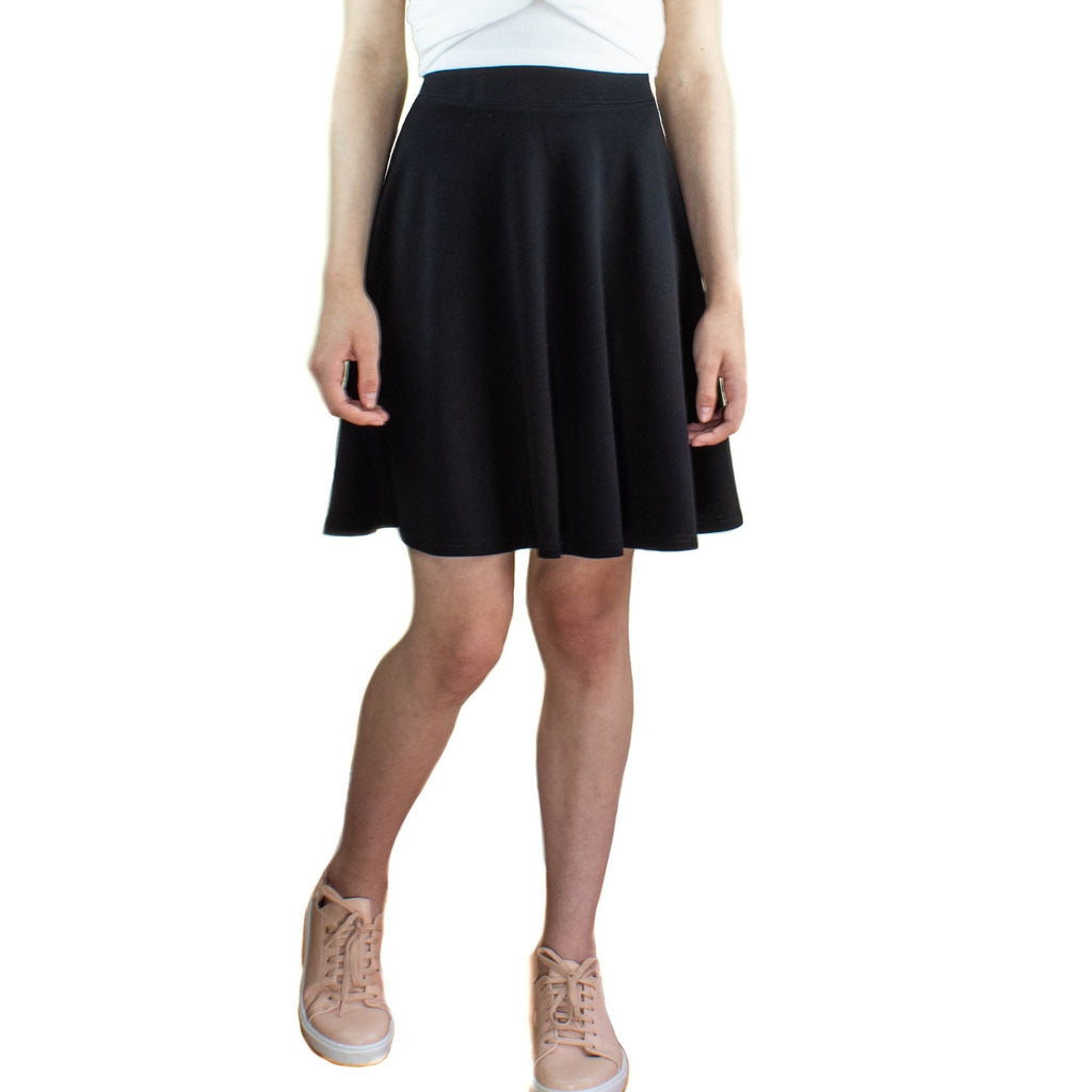 LACHERE Black Skater Skirt | Above the Knee Length | Stretch