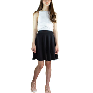 LACHERE Black Skater Skirt Knee Length Jersey