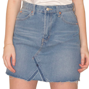 LACHERE Deconstructed Denim Mini Skirt