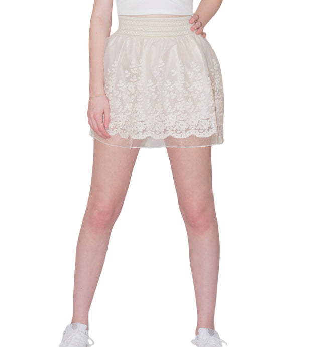 LACHERE Ivory Lace Mini Skirt
