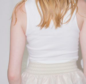 LACHERE Ivory Ribbed Tank Top - LACHERE