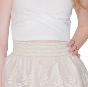 LACHERE Mini Skirt | Ivory | Lace Flared | Embroidered - LACHERE