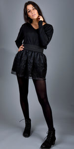 LACHERE Black Lace Mini Skirt