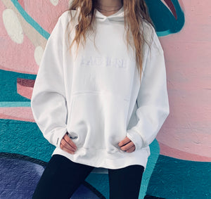 LACHERE White Oversized Hoodie | Embroidered Logo | Cotton Blend | Gender-Neutral
