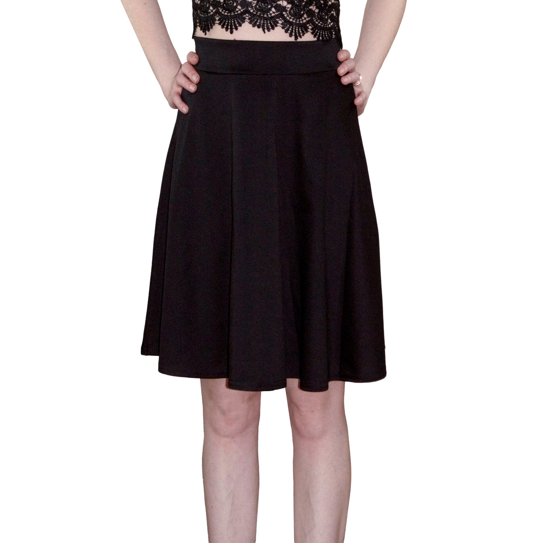 LACHERE Black Skater Skirt | Knee Length - LACHERE