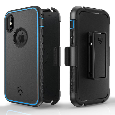 Kylin series iPhone X case with holster clip stand(Blue)