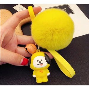BT21 Fur Ball Plush Keychains