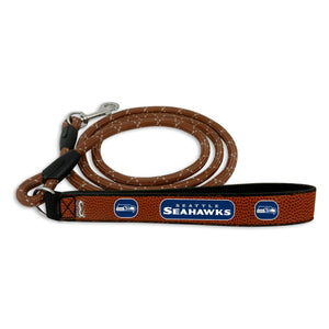 Seattle Seahawks Pet Leash Leather Frozen Rope Football Size Large