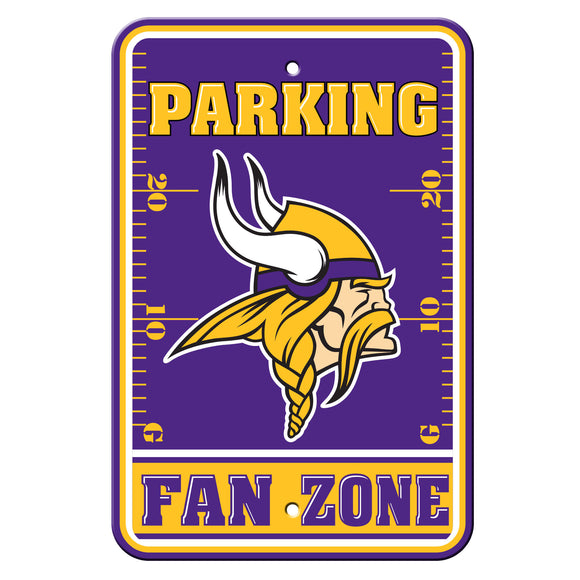 Minnesota Vikings Sign - Plastic - Fan Zone Parking - 12 in x 18 in - Special Order
