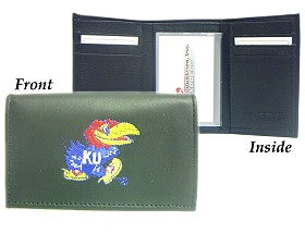 Kansas Jayhawks Wallet Trifold Leather Embroidered