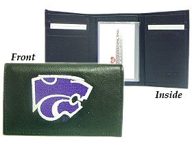 Kansas State Wildcats Wallet Trifold Leather Embroidered - Special Order