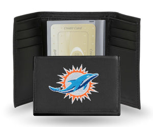 Miami Dolphins Wallet Trifold Leather Embroidered