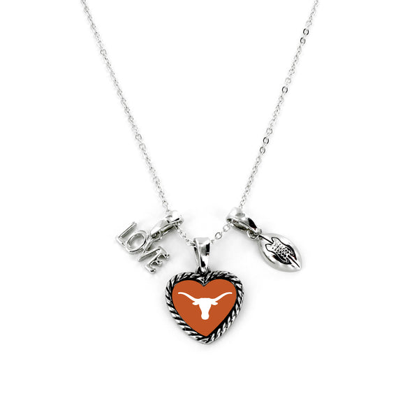 Texas Longhorns Necklace Charmed Sport Love Football - Special Order