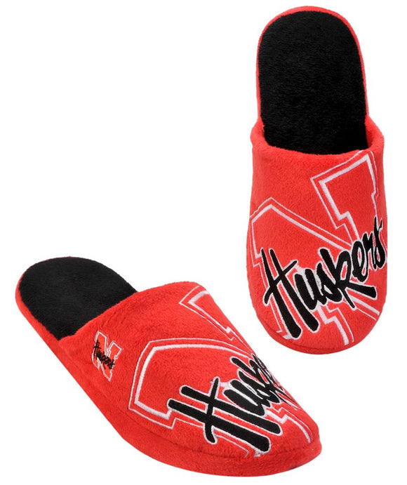 Nebraska Cornhuskers Slippers - Mens Big Logo