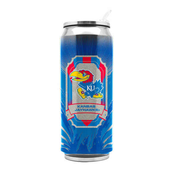 Kansas Jayhawks Stainless Steel Thermo Can - 16.9 ounces - Special Order