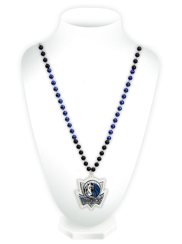 Dallas Mavericks Beads with Medallion Mardi Gras Style