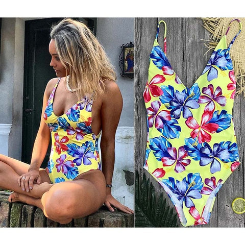 Tory - One Piece V-Neck Floral Swimsuit