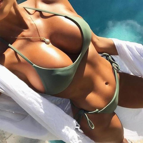 Olive Green Halter Push Up Bikini Set