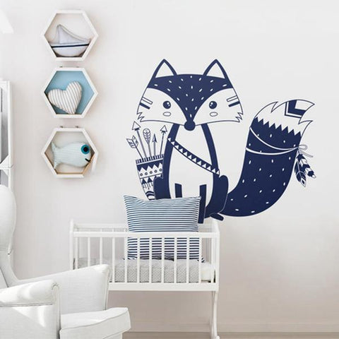 sticker geant renard tribal chambre enfant