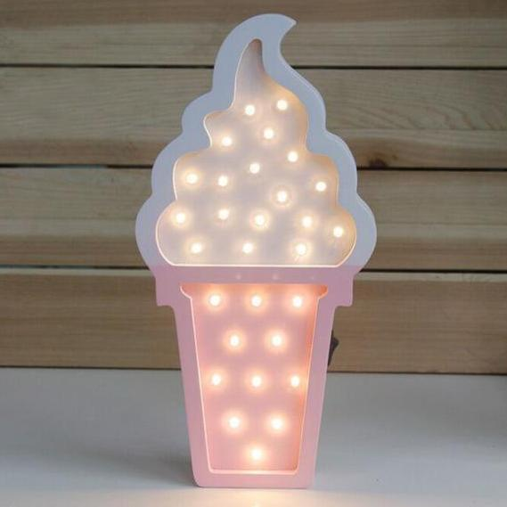 veilleuse lampe LED glace rose
