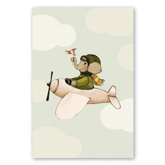 poster enfant elephant en avion