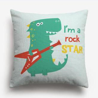 coussin dinosaure rock star