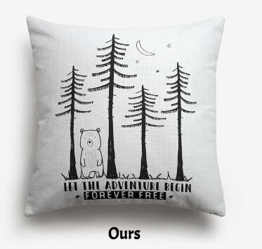 coussin ours en foret