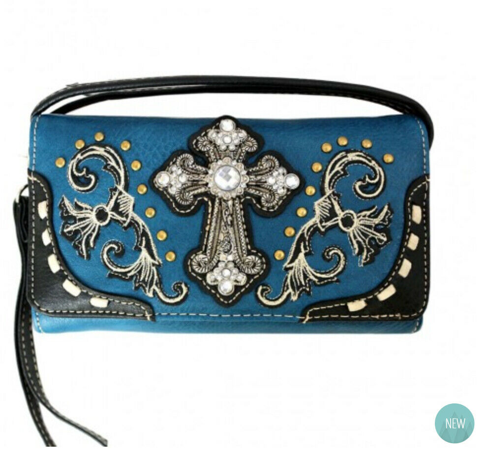 Western Cross Wallet Blue - Ace Handbag