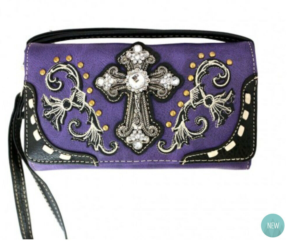 Western Cross Wallet Purple - Ace Handbag