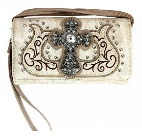 Western Cross Wallet Beige - Ace Handbag