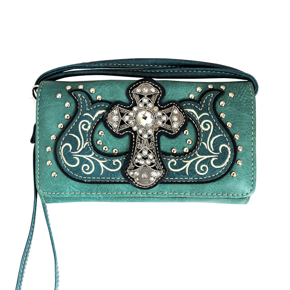 Western Cross Wallet Turquoise - Ace Handbag