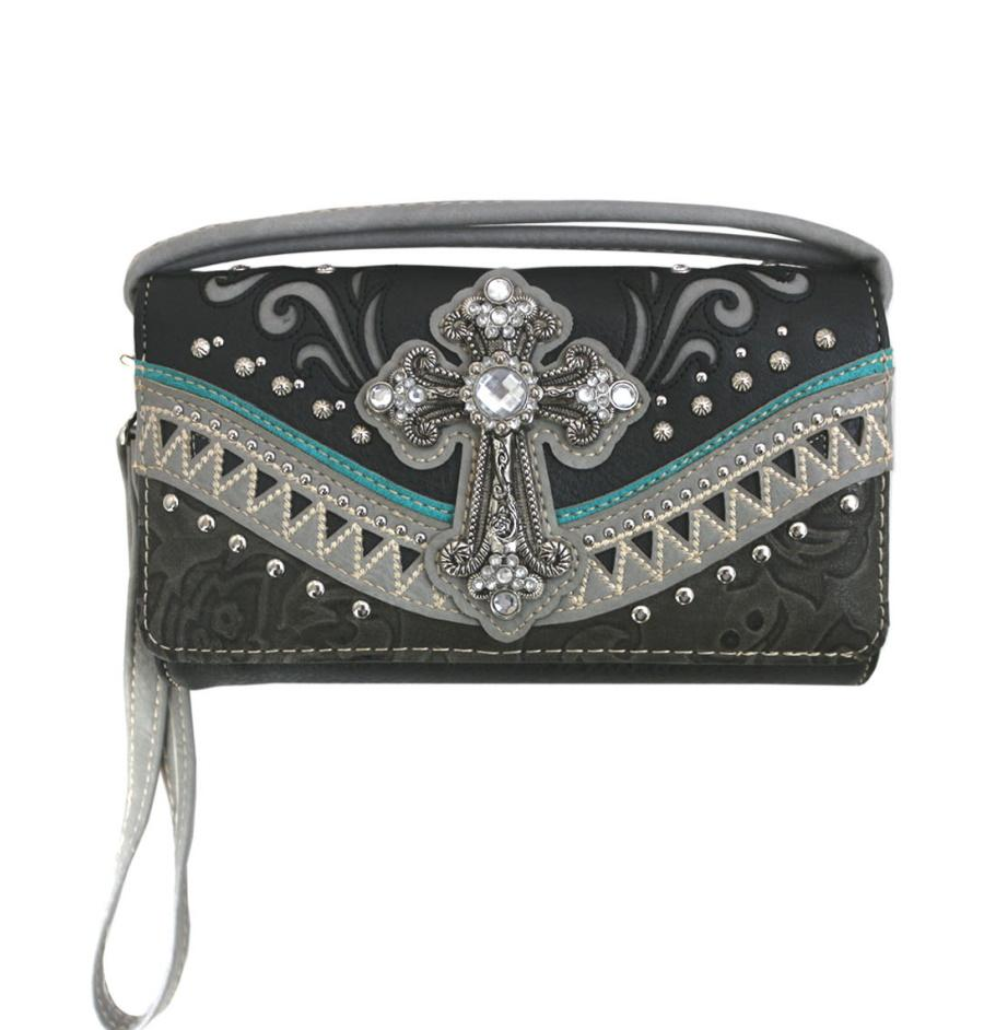 Western Cross Wallet Black - Ace Handbag