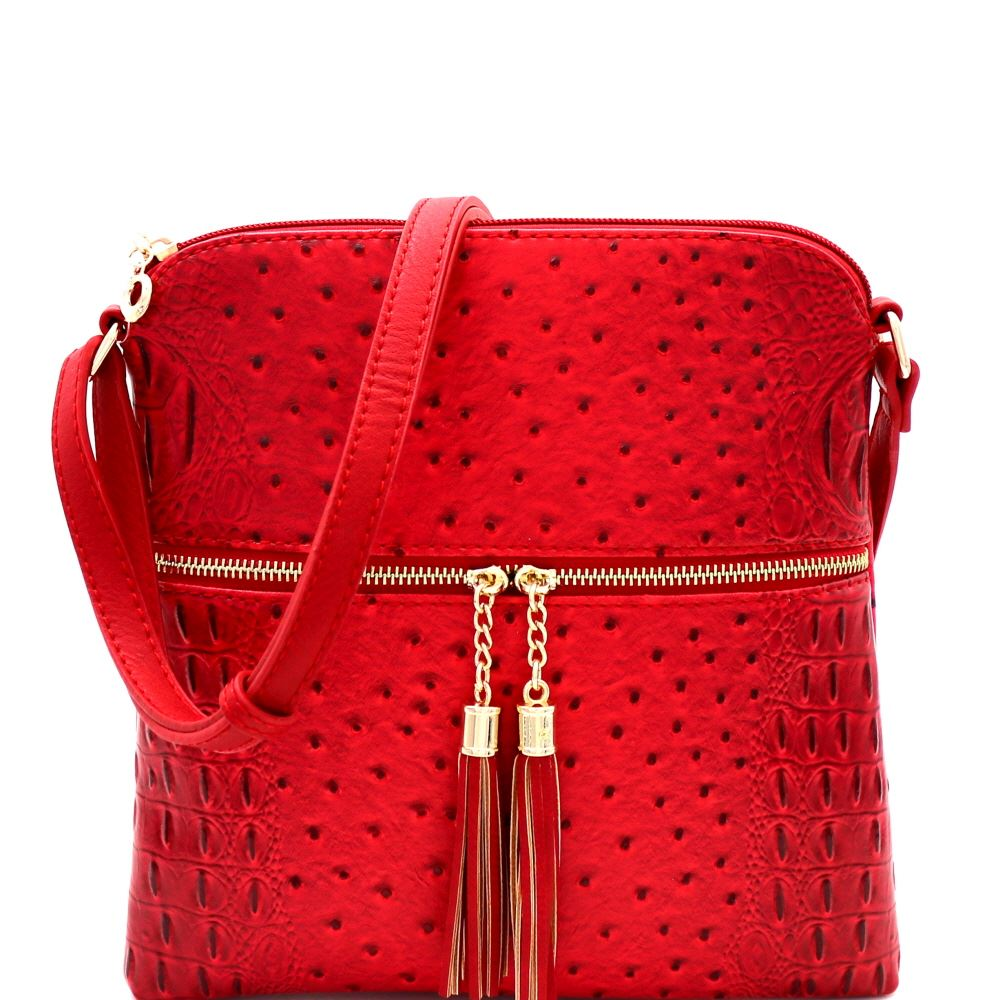 Ostrich Zip Tassel Messenger Red