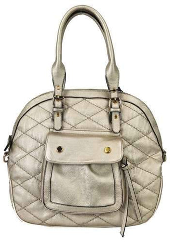 Quilted Pocket 2 Way Round Satchel Gold - Ace Trading Co.