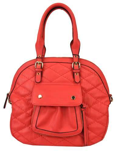 Quilted Pocket 2 Way Round Satchel Hot Pink - Ace Handbag